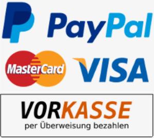 angebotene Zahlungsarten: Kreditkarte, Paypal, Vorkasse durch Überweisung